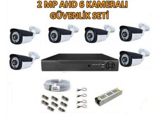 2MP FULL HD  1080 6 KAMERALI GÜVENLİK KAMERA KAYIT CİHAZI SETİ