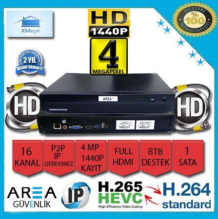 16 Kanal 4 MP 1440P Xmeye NVR IP Kamera Kayıt Cihazı AR-4516