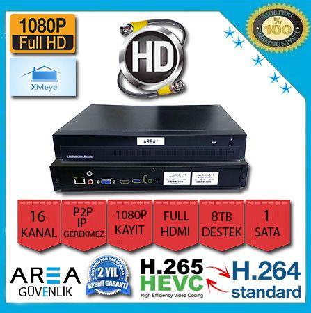 16 Kanal Xmeye 2MP  1080p NVR IP Kamera Kayıt Cihazı 2 Harddisk AR-8516-2HDD