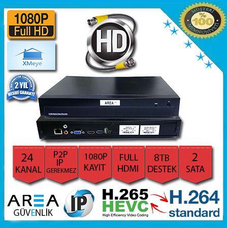 24 Kanal Xmeye 1080P NVR IP Kamera Kayıt Cihazı 2 Harddisk AR-8524-2HDD