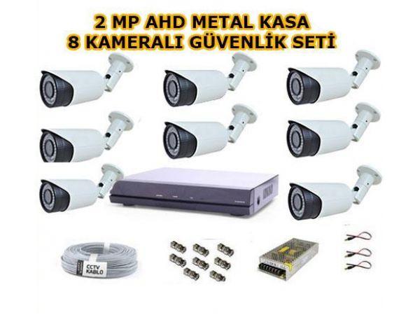 8 Kameralı 2MP AHD Güvenlik Seti 1 Tb Hard Disk Dahil