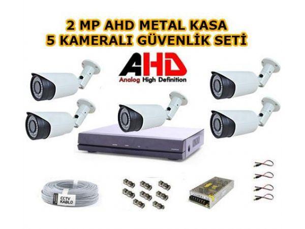 5 Kameralı 2MP 1080p Güvenlik Seti 1 TB Hard Disk Dahil