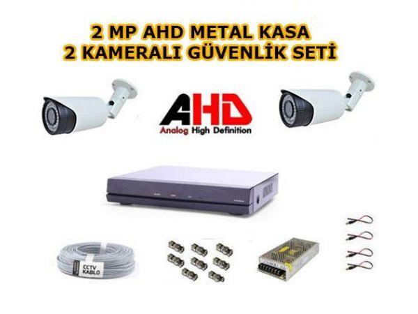 2 Kameralı 2MP AHD Güvenlik Kamera Seti 1 TB Harddisk Dahil