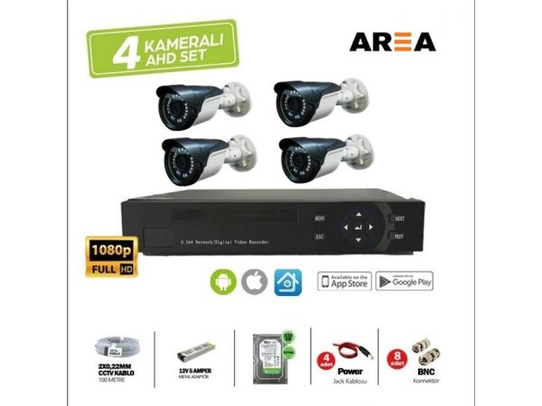 4 KAMERALI 2MP 1080P FULL HD GÜVENLİK SETİ 320 GB HARDDİSK DAHİL