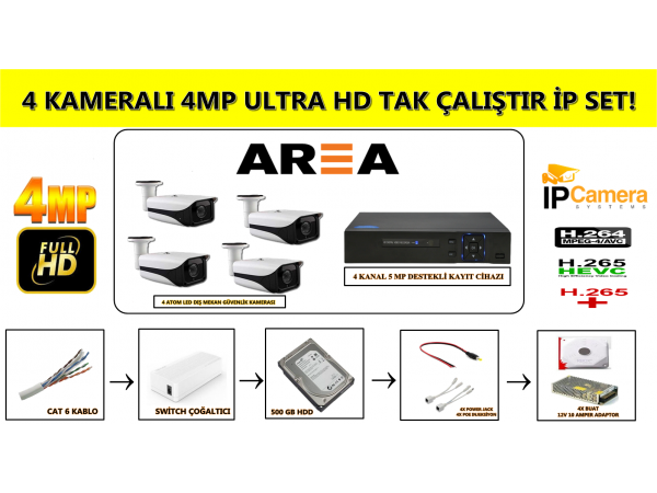 4MP 4 ATOM LED 4 KAMERALI İP GÜVENLİK SETİ
