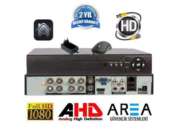 8 KANAL 1080 2MP DESTEKLİ  H265 FULL HD 5in1 Hibrit FONKSYONEL GÜVENLİK KAYIT CİHAZI  AREA