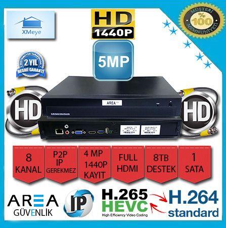 8 Kanal 5 MP 1440P Xmeye NVR IP Kamera Kayıt Cihazı AR-4508