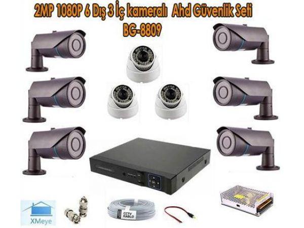 2MP 1080P 6 Dış 3 İç kameralı Ahd Güvenlik Seti