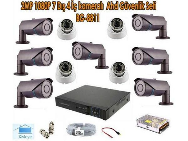 2MP 1080P 7 Dış 4 İç kameralı Ahd Güvenlik Seti