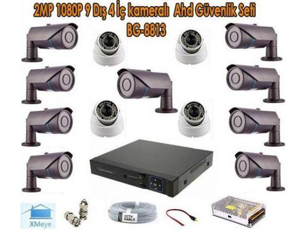 2MP 1080P 9 Dış 4 İç kameralı Ahd Güvenlik Seti