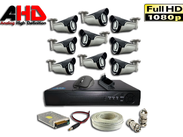 1080P 2MP 9 Kameralı AHD Güvenlik Seti