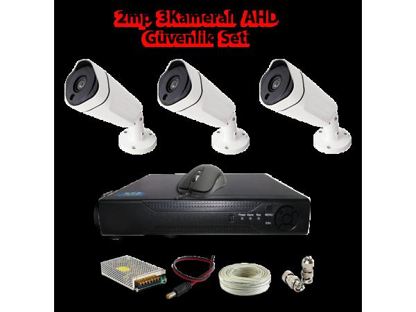 2MP 3 Kameralı AHD Güvenlik Seti