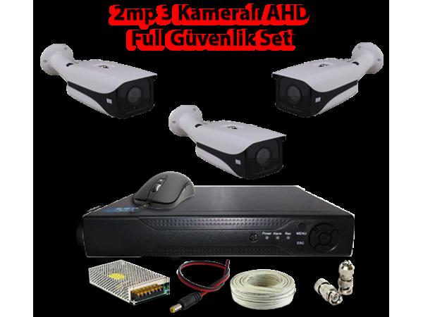 2MP 3 Kameralı AHD Full Güvenlik Seti AR-9553
