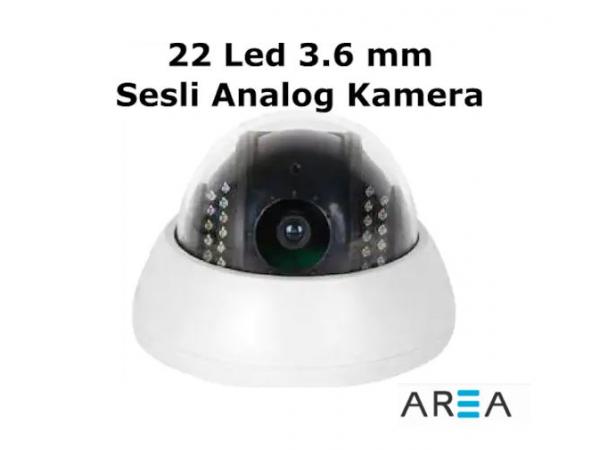 Analog 700 TVL  Sesli IR Dome  Gece Görüşlü  Kamera  AR-2612