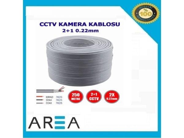 250m CCTV Güvenlik Kamera Kablosu 2+1 0.22mm