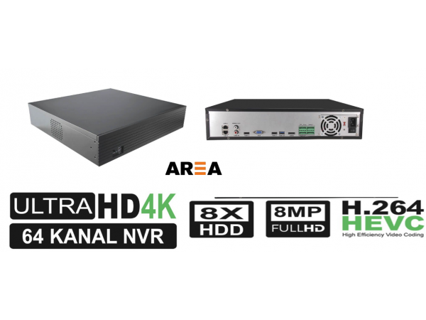 64 Kanal 8MP 4K 8 HDD H.264 NVR Kayıt Cihazı