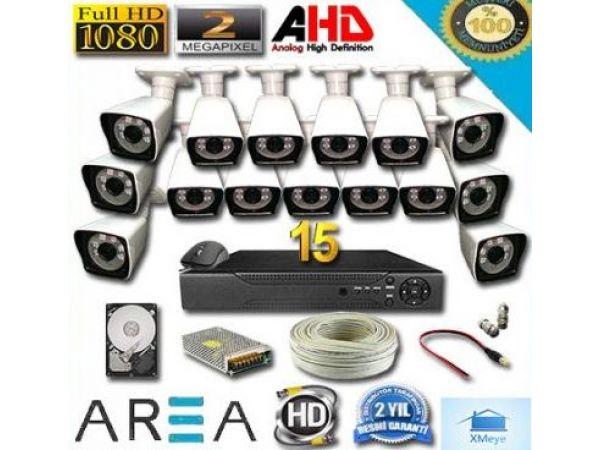 15 Kameralı 2MP 1080 Full AHD Güvenlik Seti 1 TB HDD Dahil
