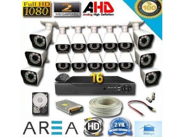 16 Kameralı 2MP 1080 Full AHD Güvenlik Seti 1 TB HDD Dahil