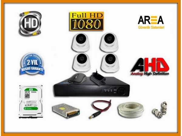 4 KAMERALI 2MP AHD DOME 500 GB HDD DAHİL GÜVENLİK KAMERA SETİ
