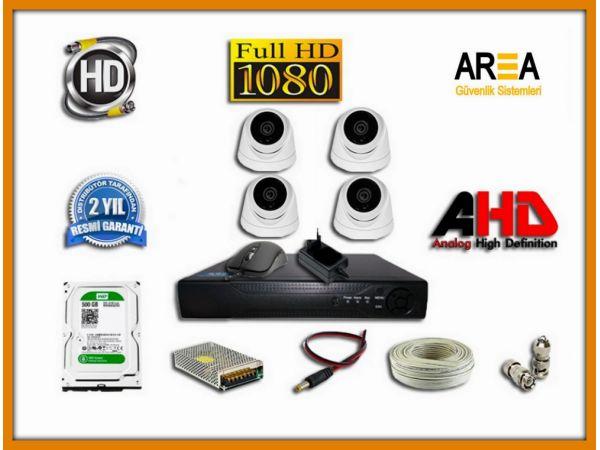 4 KAMERALI 2MP AHD DOME 500 GB HDD DAHİL GÜVENLİK KAMERA SETİ