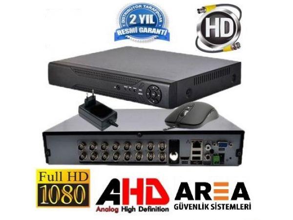 16 KANAL 1080 2MP DESTEKLİ FULL HD 5in1 Hibrit H265 FONKSYONEL GÜVENLİK KAYIT CİHAZI 2 HHD Lİ