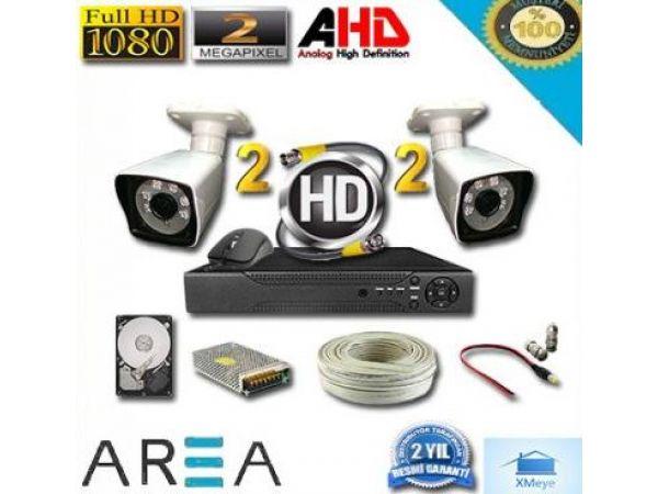 2MP 1080P 2 Kameralı Ahd Güvenlik Seti  AR-2122  320 GB Hard Disk Dahil