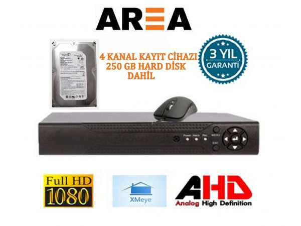 4 KANAL 1080 FULL HD 2 MP HİBRİT KAYIT CİHAZI XMEYE 250 GB HDD DAHİL