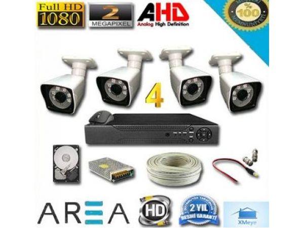 4 Kameralı 2MP 1080 Ful AHD Güvenlik Seti 500 GB HDD Dahil