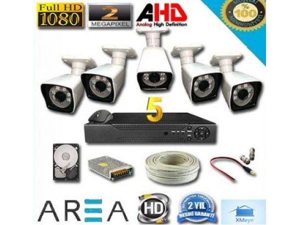5 Kameralı 2MP 1080 Ful AHD Güvenlik Seti 500 GB HDD Dahil