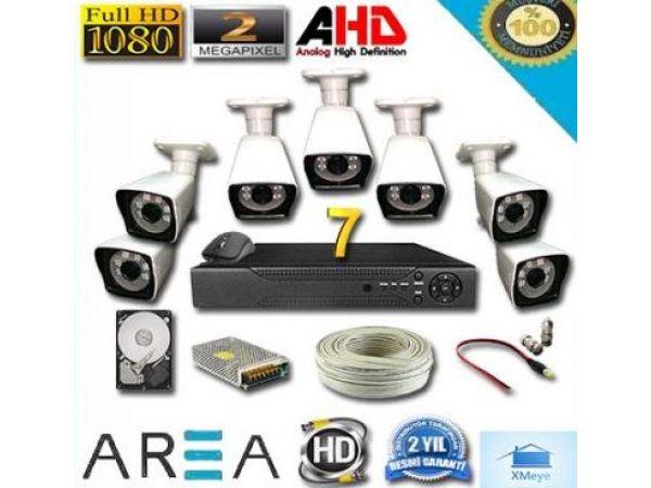7 Kameralı 2MP 1080 Ful AHD Güvenlik Seti 500 GB HDD Dahil
