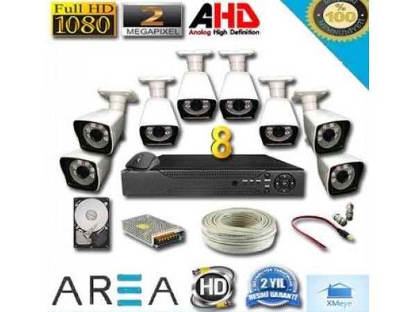 8 Kameralı 2MP 1080 Full AHD Güvenlik Seti 1 TB HDD Dahil