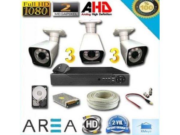 Üç Kameralı 2MP 1080 Ful AHD Güvenlik Seti 320 GB HDD Dahil
