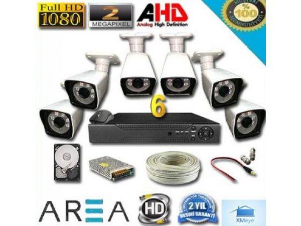 6 Kameralı 2MP 1080 Ful AHD Güvenlik Seti 500 GB HDD Dahil