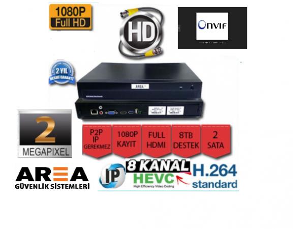 8 Kanal 2MP  1080N  NVR IP Kamera Kayıt Cihazı AR-8508