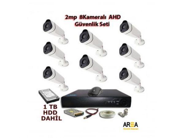 2MP 1080p Şık Metal Kasa 8 Kameralı AHD 1 TB HDD Dahil Güvenlik Seti