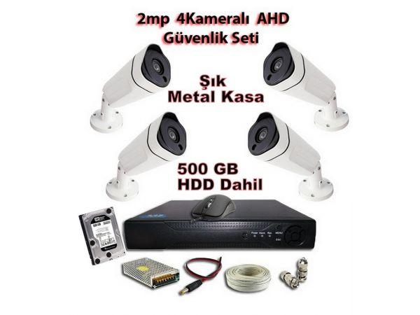 2MP AHD Uzay Metal Kasa 4 Kameralı 500 GB HDD Dahil Güvenlik Seti