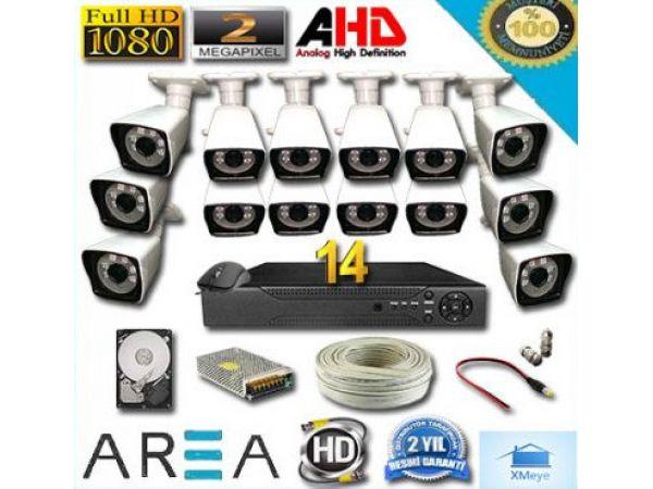 14 Kameralı 2MP 1080 Full AHD Güvenlik Seti 1 TB HDD Dahil