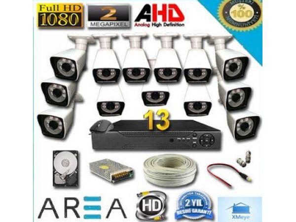 13 Kameralı 2MP 1080 Full AHD Güvenlik Seti 1 TB HDD Dahil