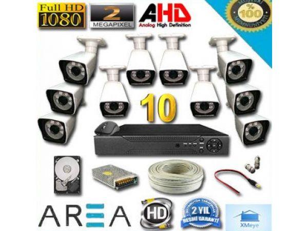 10 Kameralı 2MP 1080 Full AHD Güvenlik Seti 1 TB HDD Dahil