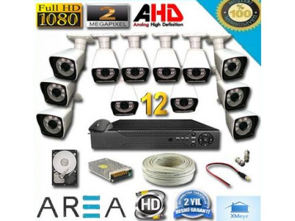 12 Kameralı 2MP 1080 Full AHD Güvenlik Seti