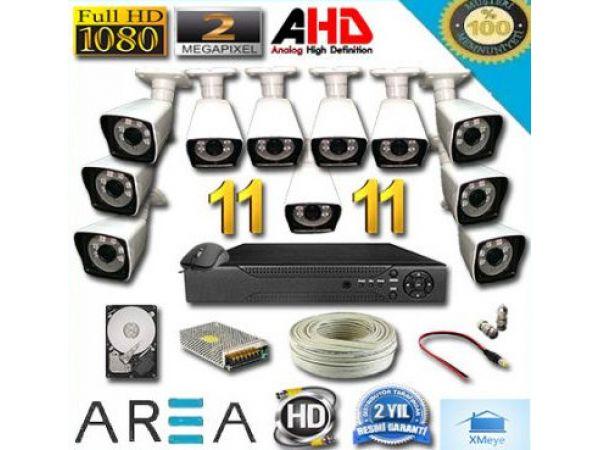 11 Kameralı 2MP 1080 Full AHD Güvenlik Seti 1 TB HDD Dahil AR-9911